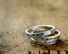 Personalized Sterling Silver Stamped Stacking Ring