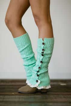 Knitted Button Leg Warmers with Crochet Lace Trim Wooden Buttons for Stocking Stuffers in Mint (LW-MINTBU)