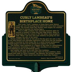 Marker - Curly Lambeau's Birthplace Home Bellevue Park, Curly Lambeau, North Chicago, East High School, Native Son, Milwaukee Road, Brown County, Vince Lombardi, Green Park