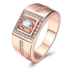 Plated Princess-Cut Crystal Ring, Women's