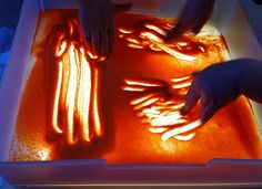 Light Table Sand Art We Took A Shallow Translucent Box And Sprinkled Some Colored
