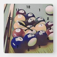 Shop Pool Billiards Games Room Clock created by TheShirtBox. Billiards Game, Big Clocks, Purple Wine, Ready To Play, Sports Games, Game Room, All The Colors, Kids Rugs, Colours
