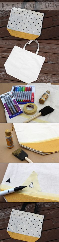 Tutorial from Two Thirds Hazel on how to make a DIY canvas tote bag with just a @Sharpie and paint. #StaplesBTS #PMedia #Ad