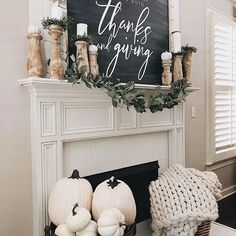 Farmhouse style fall mantel idea // Decorating your mantel for fall with white pumpkins // Neutral fall decor