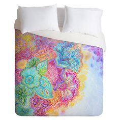 Flourish Lightweight Duvet Cover Queen Aqua/Pink DENY Designs, Blue/Rich Plum/Pink