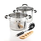 Weight Watchers Stainless Steel Pasta and Steamer Cookware, 5 Piece Set
