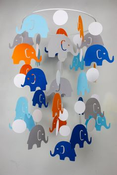 Aqua Orange Blue Nursery Crib Mobile // by TheWhimsyBoutique, $40.00