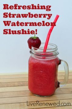 Delicious, Refreshing Strawberry Watermelon Slushies! Your kids will LOVE these and you'll love that they're refined sugar and artificial dye free! at LiveRenewed.com