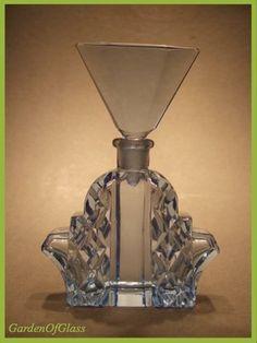 "5 25"" Original Art Deco Bohemian Czech Blue Cut Lead Crystal Glass Scent Bottle"