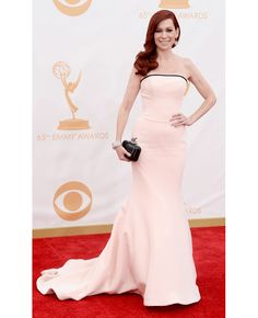 Carrie Preston in Romona Keveza // 2013 Emmy Awards // http://blog.theknot.com/2013/09/23/wedding-dresses-red-carpet-emmy-awards/