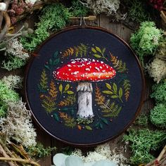 🍄Hand Embroidered fly agaric mushroom 🍄 The toadstool with a long history in magic and folklore ✨ I was really hoping to spot one of these… Diy Embroidery Patterns, Hand Embroidery Art, Cross Stitch Embroidery, Embroidery Online, Simple Embroidery, Indian Embroidery, Diy Cadeau Noel, Cross Stitching, Needlework