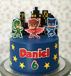 Pj Masks Birthday Cake, Girls First Birthday Cake, Truck Birthday Cakes, Frozen Cupcake Toppers, Frozen Cupcakes, Cupcake Cakes, Pj Masks Cake Topper, Pj Mask Cupcakes, Torta Pj Mask