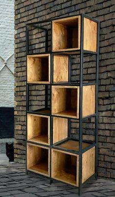 Welded Furniture, Loft Furniture, Steel Furniture, Modern Furniture, Furniture Design, Modern Bookcase, Industrial House, Industrial Bedroom, Industrial Design