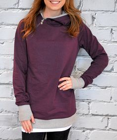 Look at this Plum & Gray Thumb-Hole Hoodie on #zulily today!