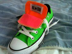 neon double tongue watermelon converes