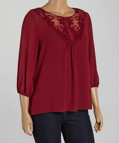 Another great find on #zulily! Burgundy Floral Lace Button-Front Top - Plus by Zenobia #zulilyfinds