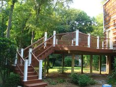 Second Floor Deck with Cascading Stairs. Easy Deck, Cool Deck, Front Deck, Front Porch, Outdoor Storage Sheds, Deck Stairs, Deck Builders, Custom Decks, Outdoor Living