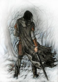 "Turin. Túrin next tried to find Finduilas and followed the trail towards the forest of Brethil, but came too late: the woodmen informed him that she had been killed by the orcs when the Men of Brethil had ambushed them in an attempt to rescue the prisoners. Túrin collapsed of grief upon her grave, and was brought to Ephel Brandir. There he took up his life again, now calling himself Turambar (""Master of Doom"") and renouncing his descent, hoping to overcome thus his curse."