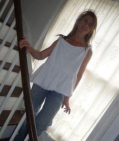 N29.52:) SHIFT. top.skirted .white. short length. double layered linen bib. upcycled white skirt.HALL-HARRIS designed & handmade.