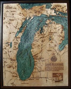 Image of Lake Michigan, MI Wood Map