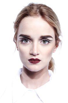 Kornelia Next Models LA on Behance  red lip, geometric eyeliner, minimalism, green eyes, test shoot, los angeles, cosmetics, beauty, makeup, Samantha Annis