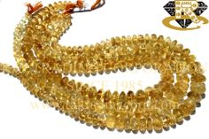 Citrine Smooth Roundel (Quality C) Shape: Roundel Smooth Length: 36 cm Weight Approx: 56 to 58 Grms. Size Approx: 7 to 13 mm Price $6.88 Each Strand