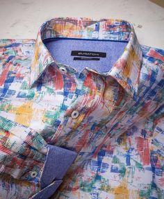 Bugatchi Mens Fitted Windowpane Pattern Button Down Collar Shirt