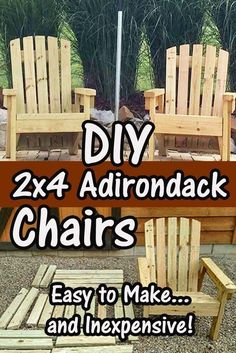 2×4 DIY Adirondack Chairs – Perfect For The Patio, Backyard Or Fire Pit! Built with simple and inexpensive 2 x 4's! #OutdoorChair #PatioFurniturechairswoods