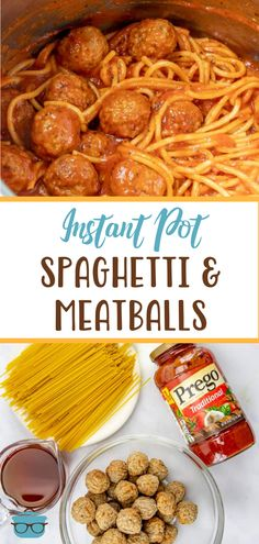 It only takes 5 ingredients to make this Easy Instant Pot Spaghetti and Meatballs! A delicious dinner will be ready in 30 minutes! Easy Dinner Recipes, Pasta Recipes, Italian Stuffed Peppers, Spaghetti And Meatballs, Bbq Pork, Country Cooking, Easy Weeknight Meals, Baked Beans, Pressure Cooker Recipes