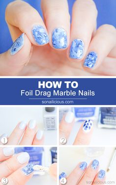Foil Drag Marble Nail Art How To Marble nail art is a great multitasking look that can be done in any colour. It looks great on short and long nails. Learn how to do marble nails yourself. Nail Art Diy, Easy Nail Art, Diy Nails, Manicure, Nails Foil, Nails Decoradas, Uñas Diy, Water Marble Nail Art, How To Marble Nails