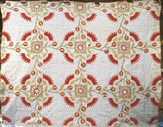 """Debby Cooney sent a photo of a recent acquisition--- Combination of pieced fans, appliqued sashing and lovely quilting. I thought """"Te..."""