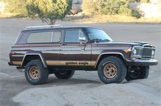 Up for sale is 1979 Jeep Cherokee Golden Eagle. It was a frame off restoration and is one of the prettiest FSJs youll ever come across. Exterior specifications: Exterior color: 1979 Jeep Classic Heritage Brown, primer, base coat, clear coat paint system. Decal set: New Golden Eagle decal package as close to original as possible. Wheels/Tires: Original wheels repainted in golden eagle gold with new BFGoodrich All-terrain TA/KO 2s Tinted windows Original roof rack New front grill Re-...