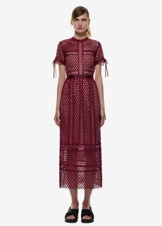Panelled Column Midi Dress in Burgandy / #MIZUstyle