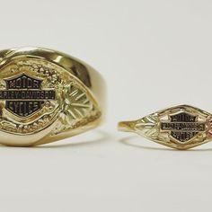 His and hers 10k gold Harley Davidson rings #SmokinJoesJewelry #harleydavidson #gold