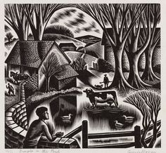 Dimple in the Pond ,1952, wood-engraving by Gwenda Morgan (born 1908)    Wood-engraving| Gwenda Morgan | V&A Search the Collections