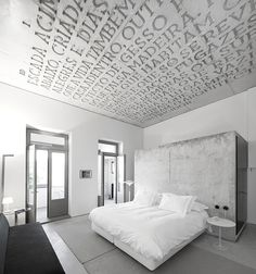 Plafond, chambre, bedroom, all white, tout blanc, tapisserie, wallpaper, ceiling, decor, decoration, deco