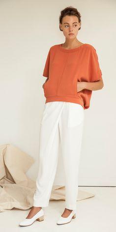 Look 7: Kimono Scoop Top in Persimmon Dust // Crossover Trouser in Sake