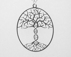 Tree of life with a DNA trunk necklace - Sterling silver necklace
