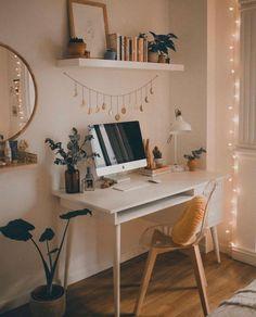 Dream Home Interior .Dream Home Interior Study Room Decor, Cute Room Decor, Room Ideas Bedroom, Bedroom Inspo, Teen Bedroom Desk, Hippy Bedroom, Teen Room Decor, Ikea Bedroom, Cozy Bedroom