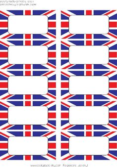 unio jack classroom theme | Union Jack labels that can be used for a London Olympics party.