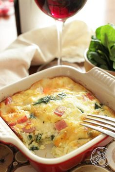 Creamy, low-carb Crustless Spinach Quiche for One made with salty ham and Swiss cheese. Full of flavor, you'll never even miss the crust! | zagleft.com