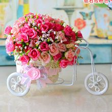 Aliexpress - plastic rattan wicker trycycle vase include flowers wedding home decoration bandwagon  artificial rose flower set(China (Mainland))