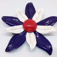 Vintage FLOWER BROOCH PIN Red White Blue Enamel Silver Tone Costume Jewelry $5.00 sale #ebay #vintagebrooch #vintagejewelry