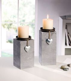 "Candle holder ""Little Heart"" in a set of 2 … - Trend Garden Decoration Cement Art, Concrete Crafts, Concrete Projects, Concrete Furniture, Concrete Design, Concrete Planters, Concrete Candle Holders, Candle Stand, Diy Candles"