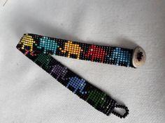 Loom Bracelet Patterns, Bead Loom Bracelets, Bead Loom Patterns, Beading Patterns, Rakhi, Beading Projects, Brick Stitch, Loom Beading, Bead Earrings