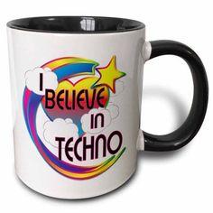 3dRose I Believe In Techno Cute Believer Design, Two Tone Black Mug, 11oz