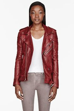 BLK DNM Brick Red Leather ribbed Biker Jacket, $895