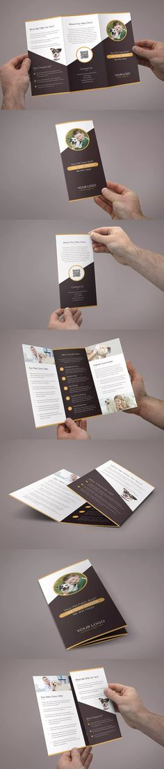 Pets Care Tri-Fold Brochure Template PSD - A4 and US Letter Size