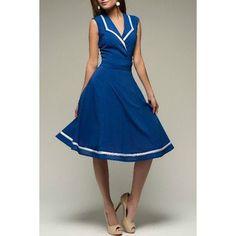 $10.27 Elegant Turn-Down Collar Color Block Sleeveless Dress For Women
