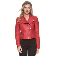 Andrew Marc Ryan ($199) ❤ liked on Polyvore featuring outerwear, jackets, leather, red, fleece-lined jackets, red moto jacket, red biker jacket, red leather jacket and red motorcycle jacket